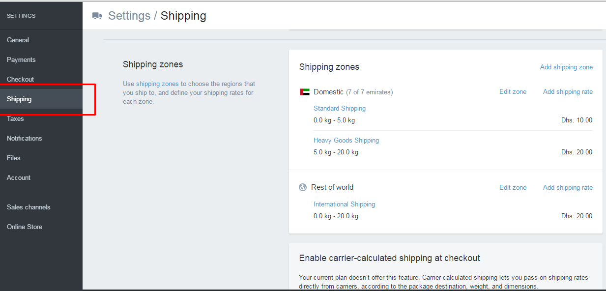 Settings Shipping in shopify