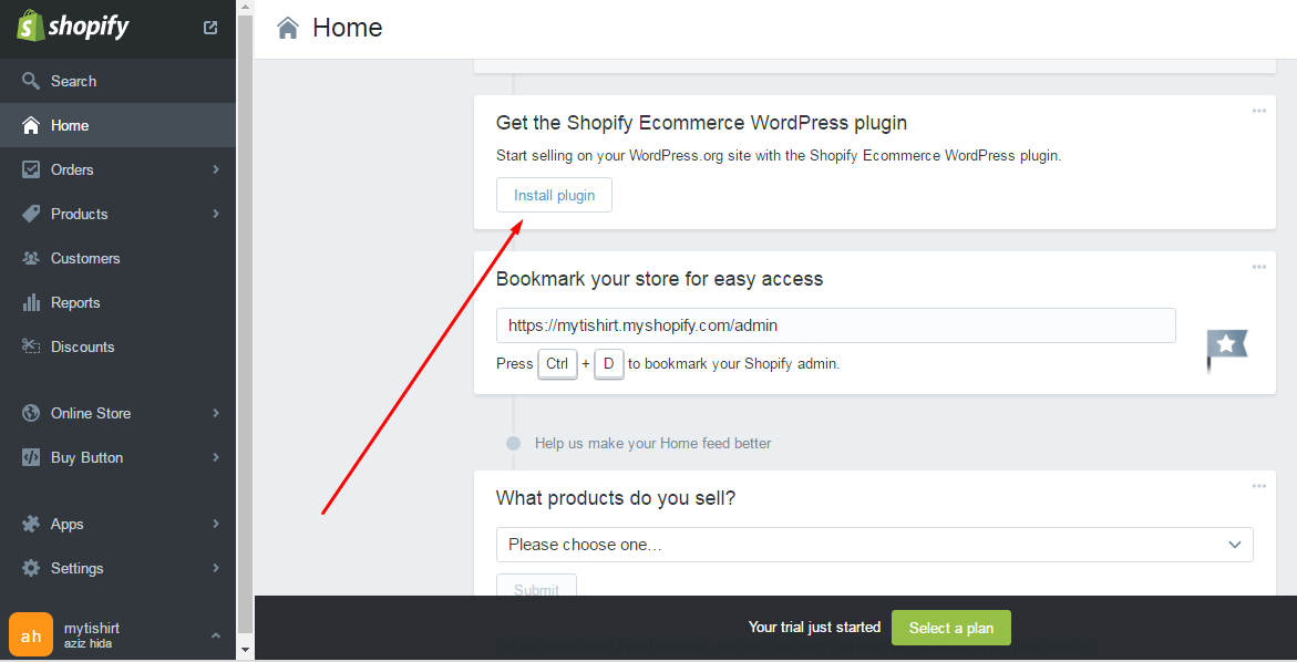 instal shopify wordpress plugin