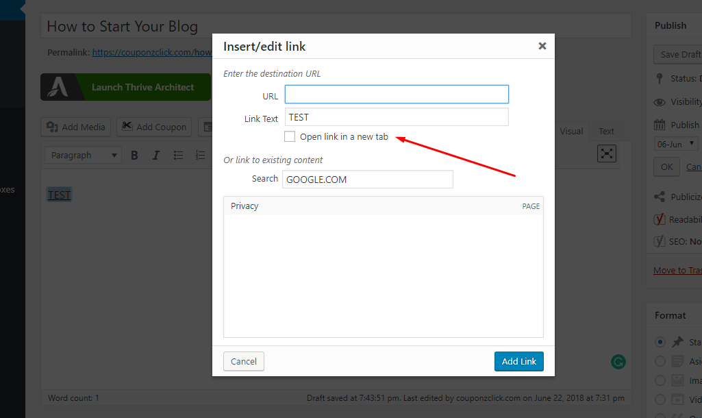 how to add links in wordpress blog