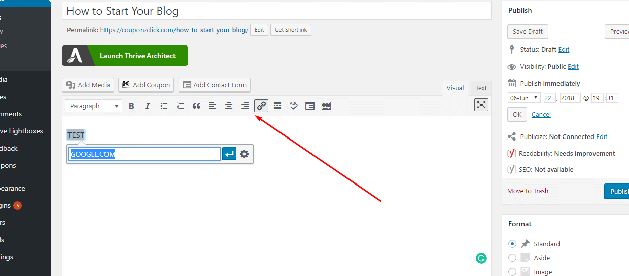 how to add links in wordpress
