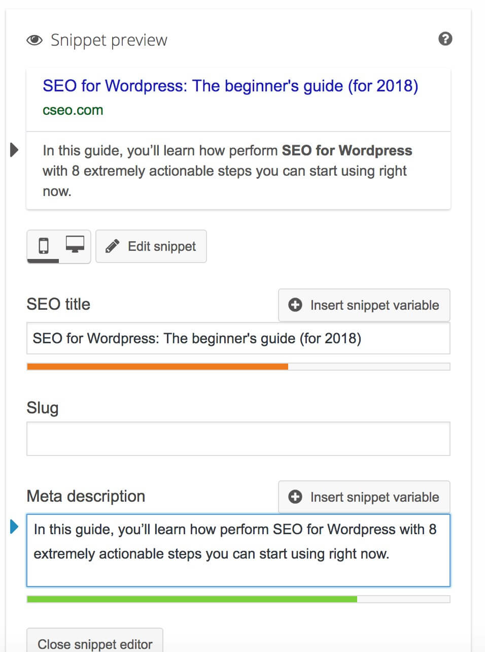 WordPress on-page SEO