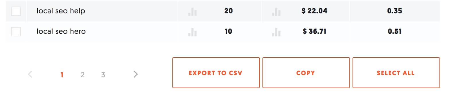 export keyword to .CSV.
