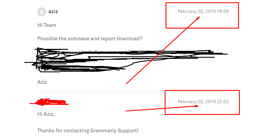 Grammarly Support feedback