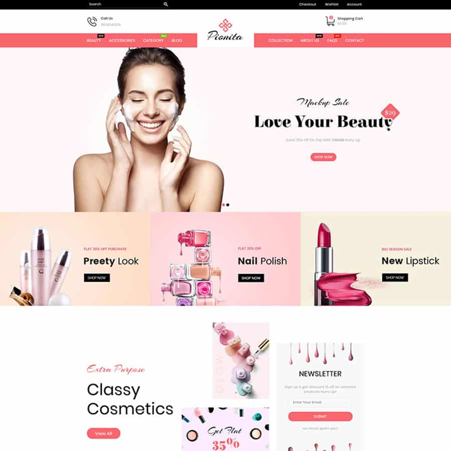 Pionita Cosmetics Shopify Theme
