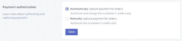 autorisation payment in shopify
