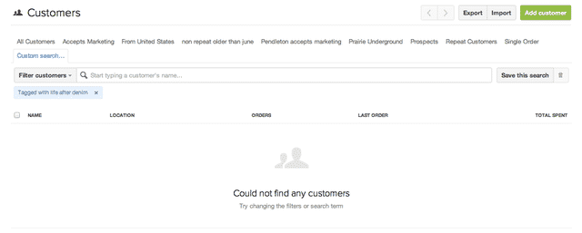 Customers in shopify
