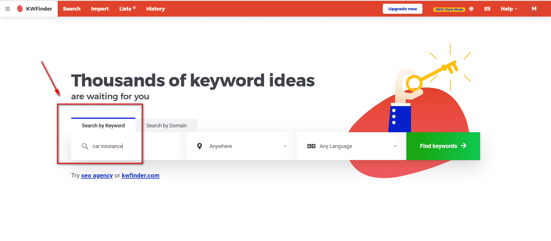Search By Keyword Kwfinder