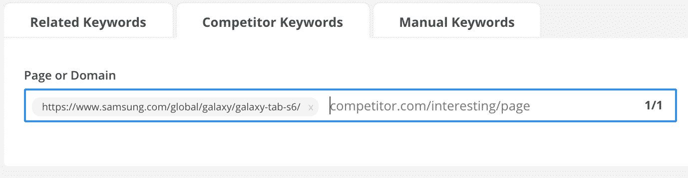 Competitor Keywords 1