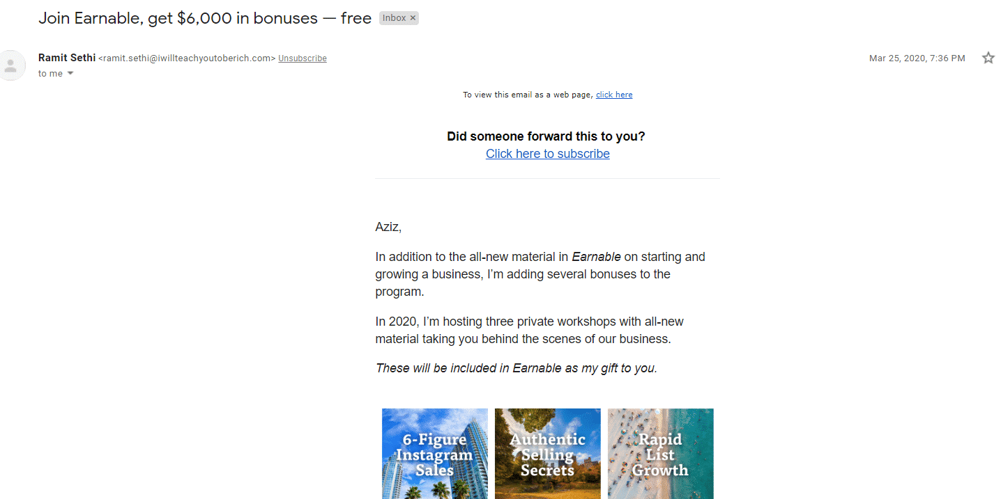 Example of great email copy