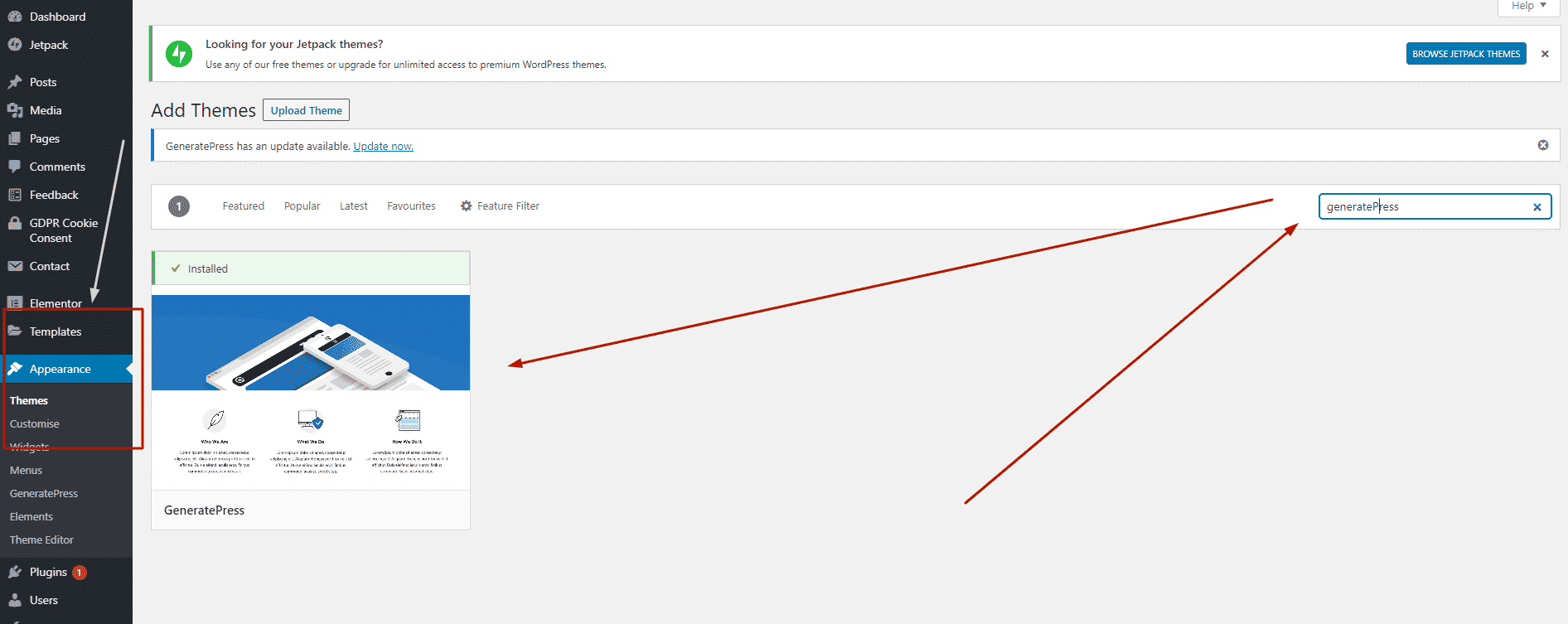 How to install generatePress