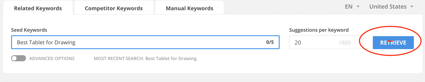 Keyword Search bar