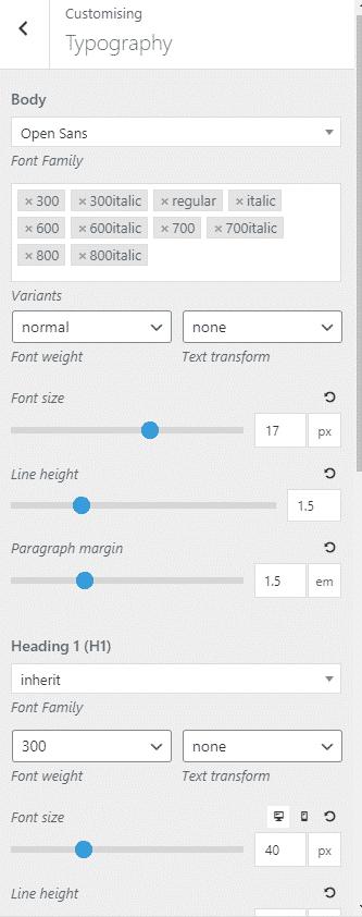 Typography GeneratePress Free version 1