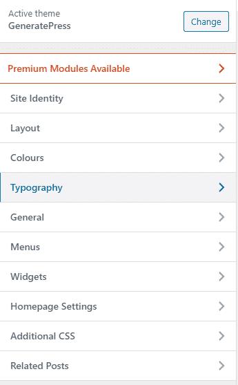 Typography GeneratePress Free version