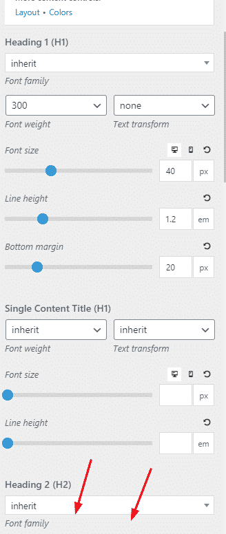 Typography GeneratePress Pro Version 1