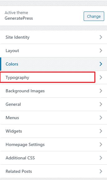 Typography GeneratePress