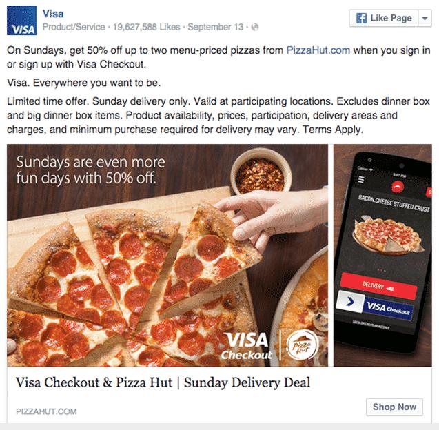 Visa facebook ad copy