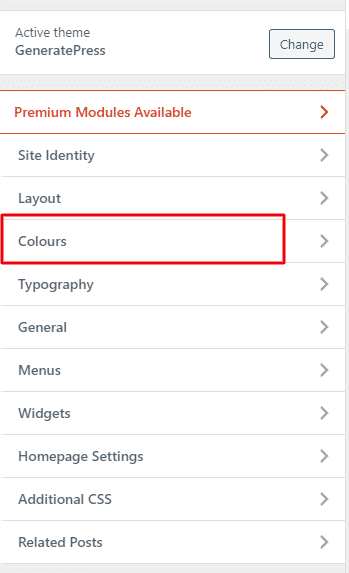 color in generatePress