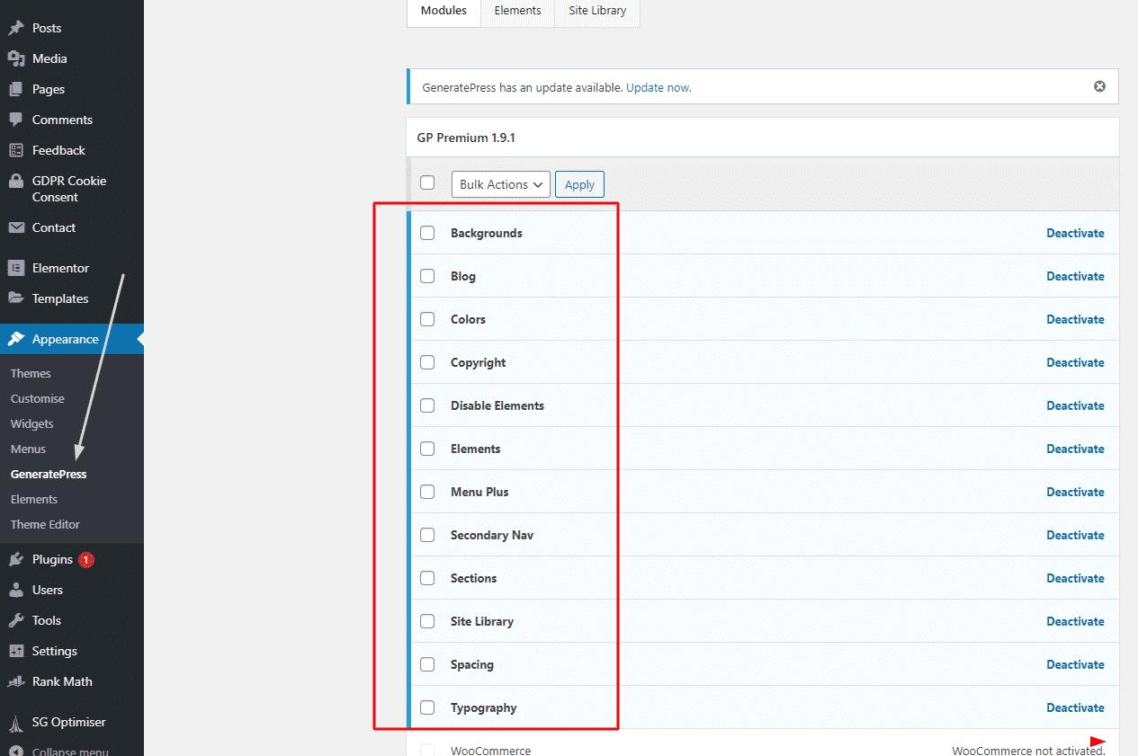 generatePress features
