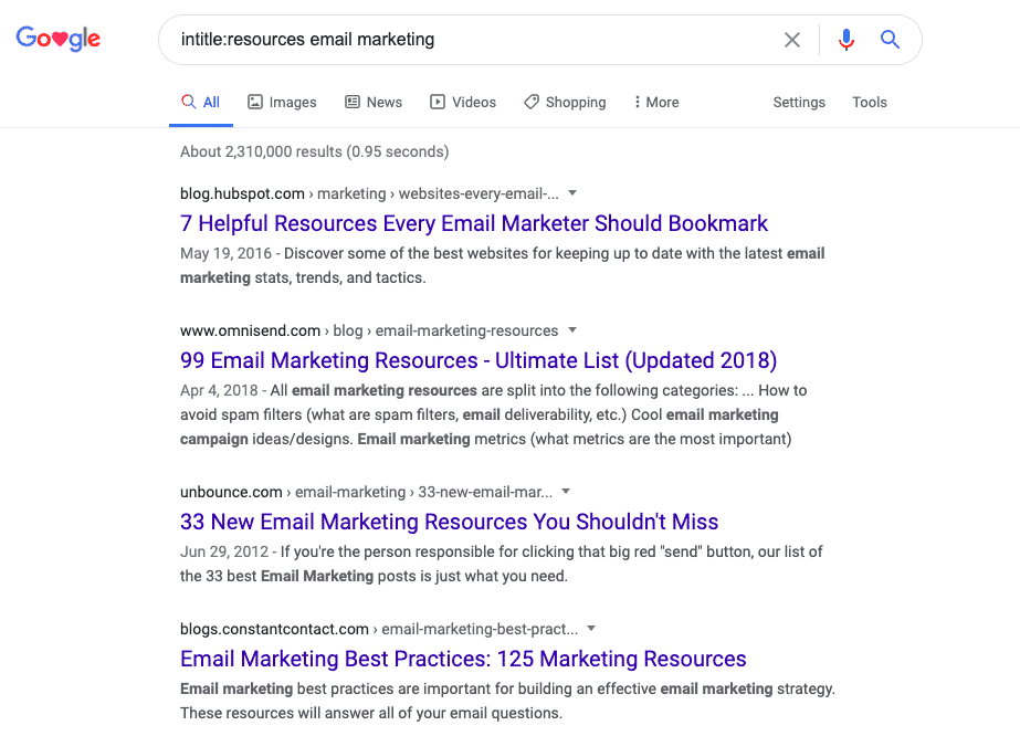 resources + your keyword in google