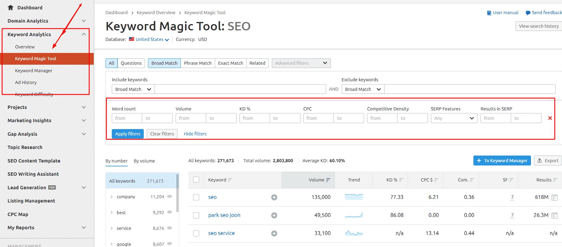 Magic tool in Semrush