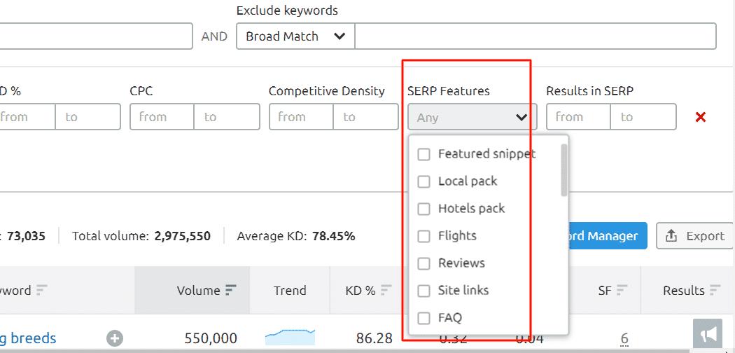 Semrush Filtering Features