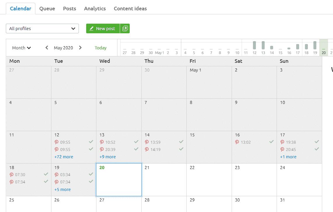 post scheduling in Semrush