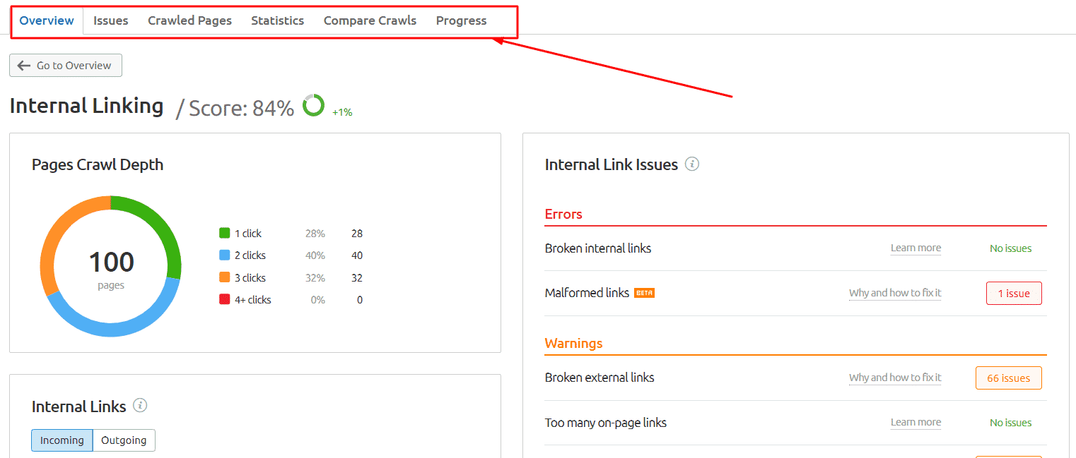 semrush internal Linking audit