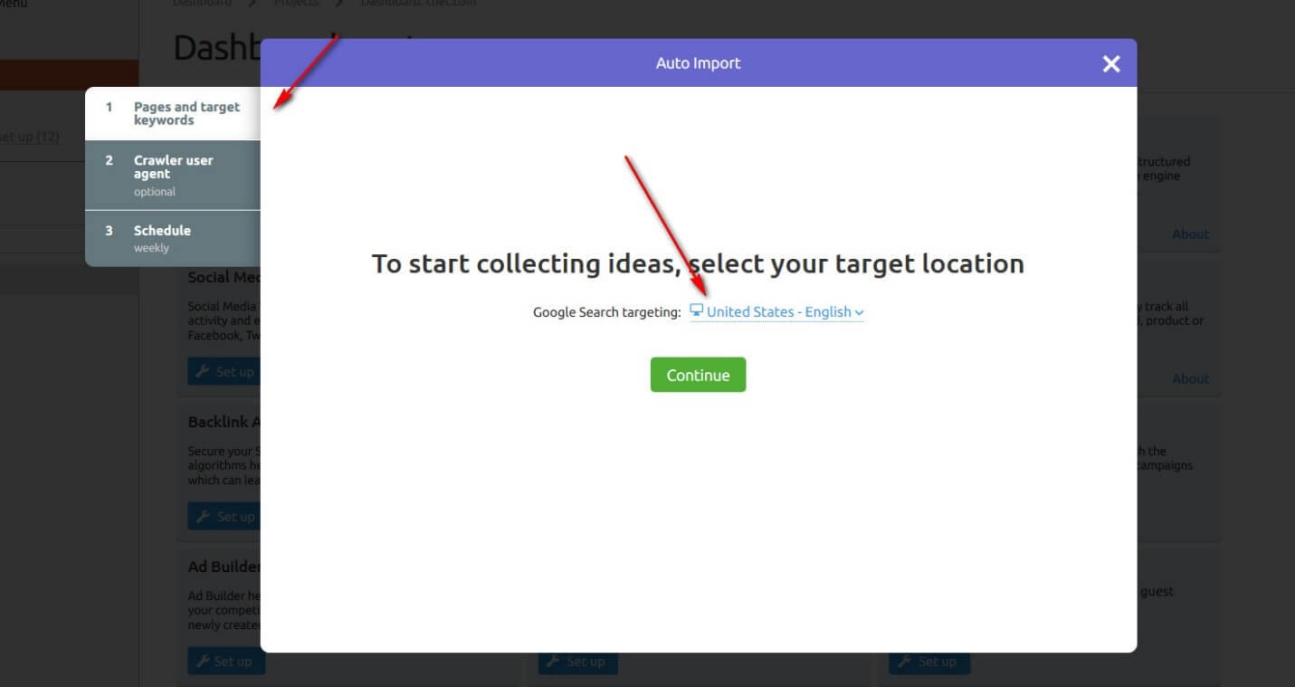 select the location in Semrush