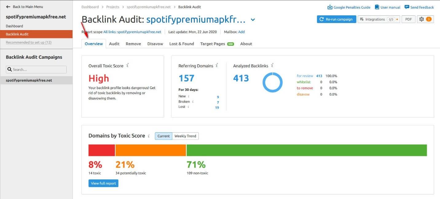 Backlink Audit Semrush
