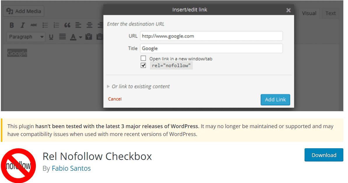 REL No-Follow CheckBox