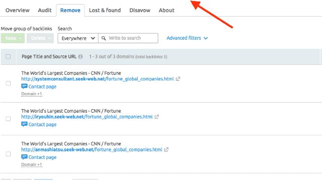 remove bad link using semrush (1)